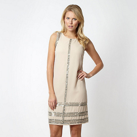 Principles by Ben de Lisi - Designer cream sequin bordered shift dress