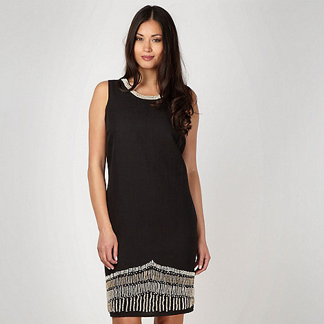 Principles Petite by Ben de Lisi - Petite designer black beaded tunic dress