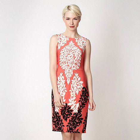 Principles by Ben de Lisi - Designer coral two tone leaf jersey dress