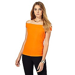 Principles by Ben de Lisi - Orange ribbed Bardot top