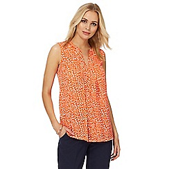 Principles by Ben de Lisi - Orange printed notch neck blouse