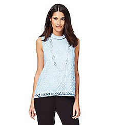 Principles Petite by Ben de Lisi - Light blue burnout split back petite top