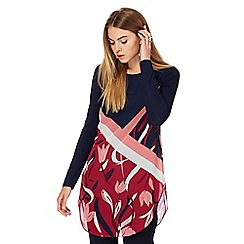 Principles by Ben de Lisi - Navy and pink tulip print tunic