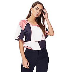 Principles by Ben de Lisi - Multi-coloured satin colour block frilled sleeves top