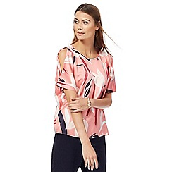 Principles by Ben de Lisi - Pink satin tulip print cold shoulder top