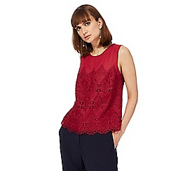 Principles by Ben de Lisi - Dark red lace embroidered top