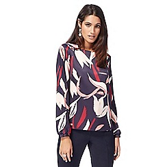 Principles by Ben de Lisi - Navy tulip print long sleeves top