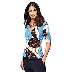 Principles by Ben de Lisi - Orange leaf print wrap top