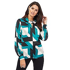 Principles by Ben de Lisi - Green prism print roll neck blouse