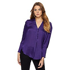Principles by Ben de Lisi - Purple satin jacquard circle blouse