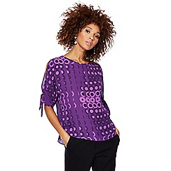 Principles by Ben de Lisi - Purple circle print cold shoulder top