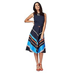 Principles by Ben de Lisi - Navy chevron striped midi length prom dress