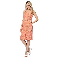 Principles by Ben de Lisi - Orange printed mock button front dress