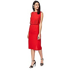 Principles by Ben de Lisi - Red round neck sleeveless midi pencil dress