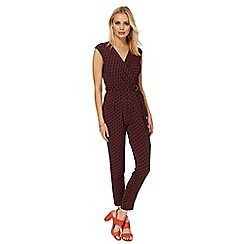 Principles by Ben de Lisi - Dark red and navy leaf print jumpsuit
