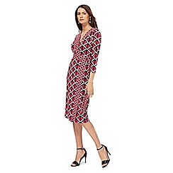 Principles by Ben de Lisi - Bright pink window pane print jersey wrap dress