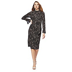 Principles by Ben de Lisi - Black matrix print high neck long sleeve knee length dress