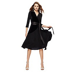 Principles by Ben de Lisi - Black V-neck 3/4 sleeve knee length wrap dress