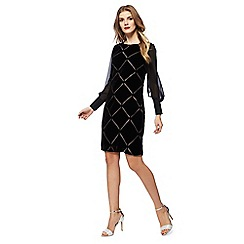 Principles by Ben de Lisi - Black velvet long sleeve knee length shift dress