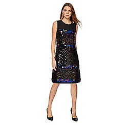 Principles by Ben de Lisi - Black sequinned knee length shift dress