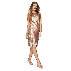 Principles by Ben de Lisi - Gold sequin round neck sleeves knee length shift dress