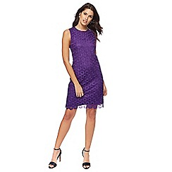 Principles by Ben de Lisi - Purple lace knee length shift dress