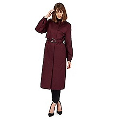 Principles by Ben de Lisi - Wine red long zip front mac coat