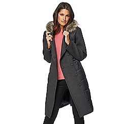 Principles by Ben de Lisi - Dark grey faux fur trim coat