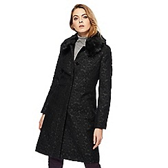 Principles by Ben de Lisi - Black jacquard faux fur collar coat