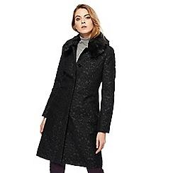 Principles Petite by Ben de Lisi - Black jacquard faux fur collar petite coat