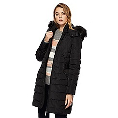 Principles by Ben de Lisi - Black padded longline faux fur hood trim coat