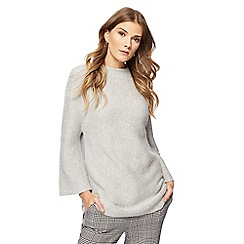 Principles Petite by Ben de Lisi - Grey ribbed funnel neck jumper
