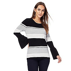 Principles by Ben de Lisi - Black and grey striped bell sleeves jumper