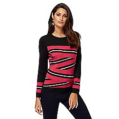 Principles by Ben de Lisi - Black and pink striped jumper