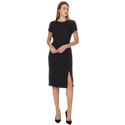 Black knee length dress with white collar