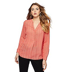 Principles - Red printed notch neck shirt