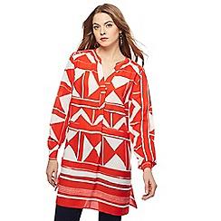 Principles - Red printed longline shirt