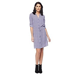 Principles - Royal blue mini chain print V neck knee length shirt dress