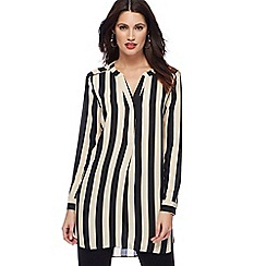 Principles - Black latte stripe longline shirt