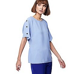 Principles - Light blue button shoulder top