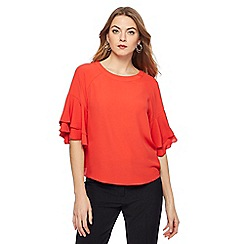 Principles - Red double ruffle sleeves top