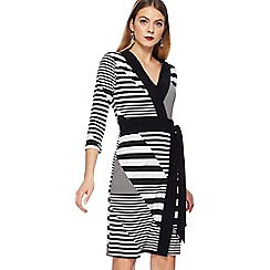 Principles - Black striped knee length wrap dress