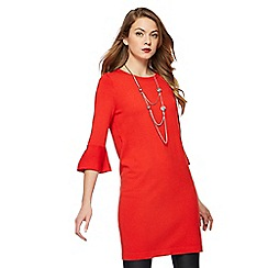 Principles Petite by Ben de Lisi - Red pleat sleeves petite tunic