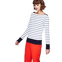 Principles Petite - White and blue striped plated neck jumper