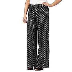 Principles by Ben de Lisi - Designer black fretwork wide leg trousers