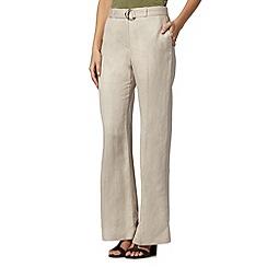 Principles Petite by Ben de Lisi - Designer beige herringbone linen blend trousers
