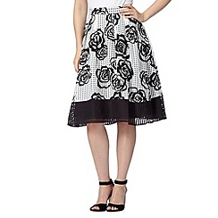 Principles by Ben de Lisi - Designer black burnout rose prom skirt