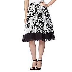 Principles by Ben de Lisi - Designer black burnout rose prom skirt