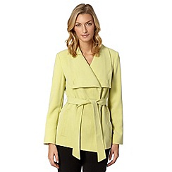 Principles Petite by Ben de Lisi - Petite designer light green wrap coat
