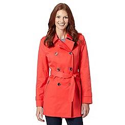 Principles Petite by Ben de Lisi - Petite designer bright red zip pocket mac coat